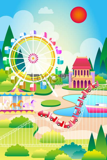 놀이 공원 테마 배경 일러스트 레이션 이미지 _사진 630005581 무료
