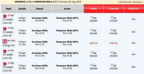Tiket Pesawat Surabaya Bali Lion Air - Katalog Harga Promo