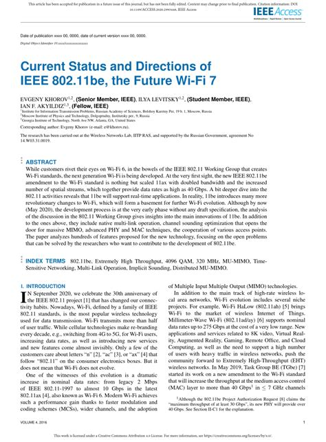 (PDF) Current Status and Directions of IEEE 802
