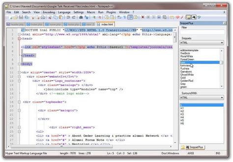 SnippetPlus: Notepad++ Plugin To Quickly Add Pre-Defined