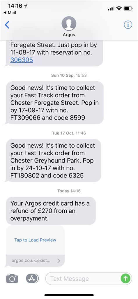Fraud Alert: Argos Credit Card Refund SMS text message ⋆