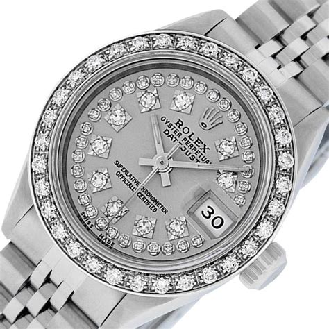Rolex Silver Ladies Datejust Ss/White Gold with String