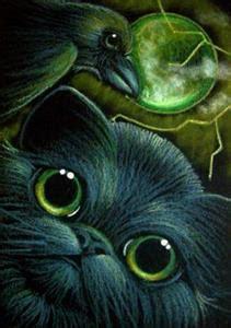 BLACK CAT & RAVEN CROW - by Cyra R