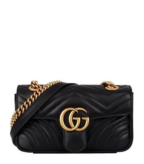 Lyst - Gucci Mini Marmont Chevron Shoulder Bag in Black