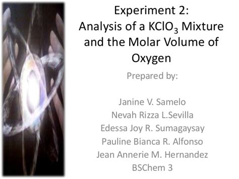 Experiment 2: Molar Volume of Oxygen
